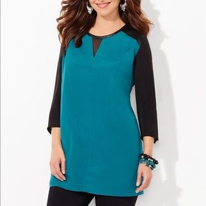 Catherines Ravello Colorblock Blouse Pleated Back